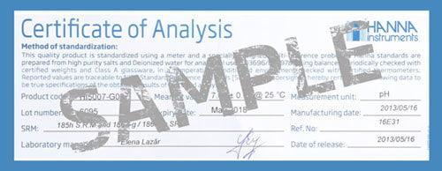 น้ำยามาตรฐานฺ Hanna Certificate