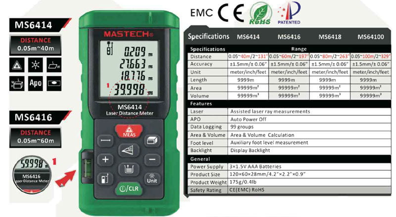 Compare Mastech Laser distance meter