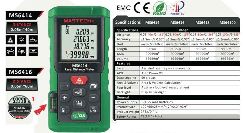 Compare Mastech Laser distance meter