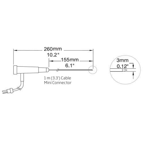 โพรบวัดอุณหภูมิเทอร์โมคัปเปิ้ล (Thermocouple Probe) รุ่น HI766C