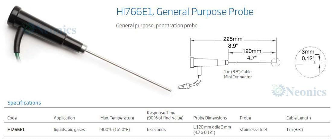 โพรบวัดอุณหภูมิเทอร์โมคัปเปิ้ล (Thermocouple Probe) รุ่น HI766E1