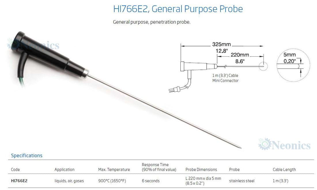 โพรบวัดอุณหภูมิเทอร์โมคัปเปิ้ล (Thermocouple Probe) รุ่น HI766E2