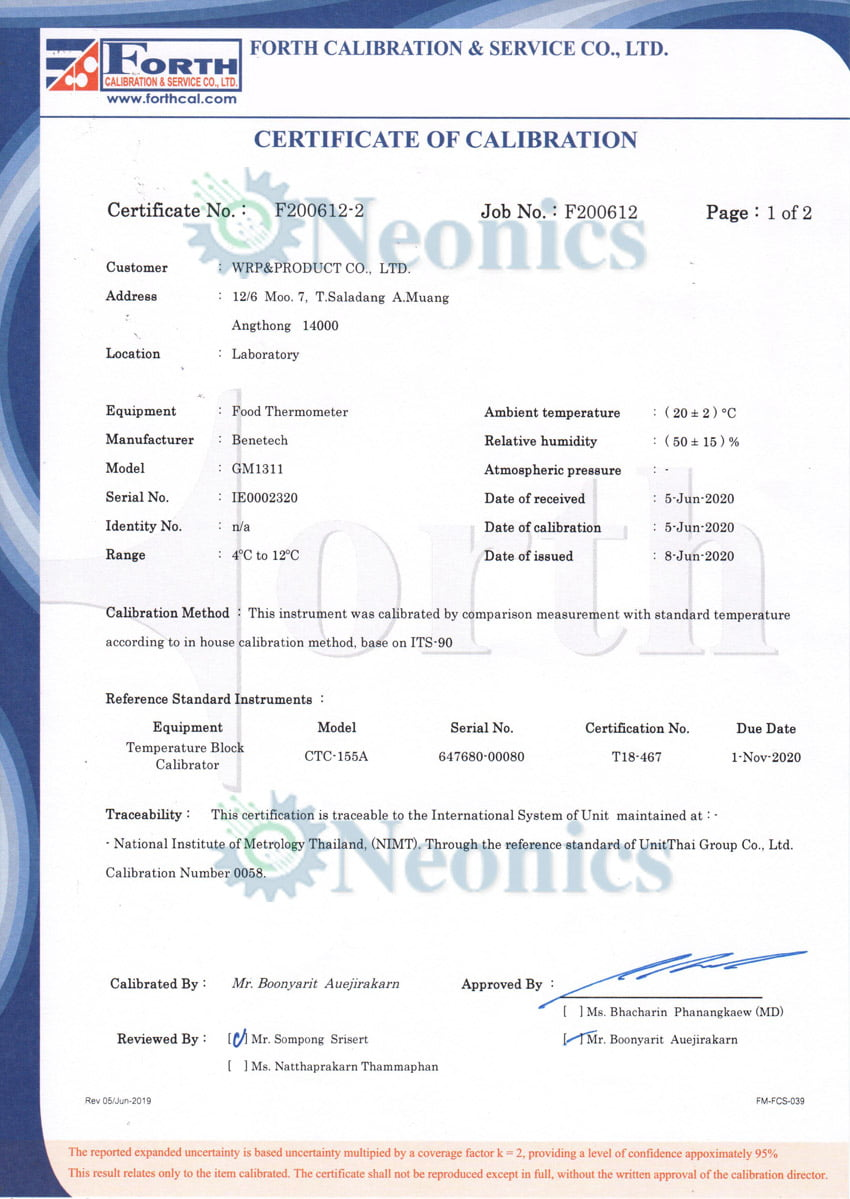 Certificate of calibration GM1311 หน้า2