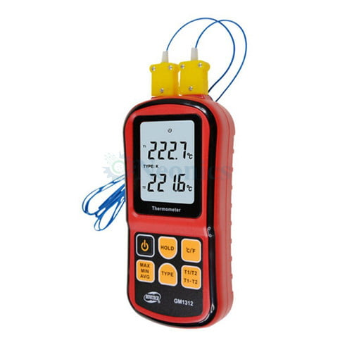 เครื่องวัดอุณหภูมิ เทอร์โมมิเตอร์แบบ Thermocouple แบบ 2 แชนแนล GM1312