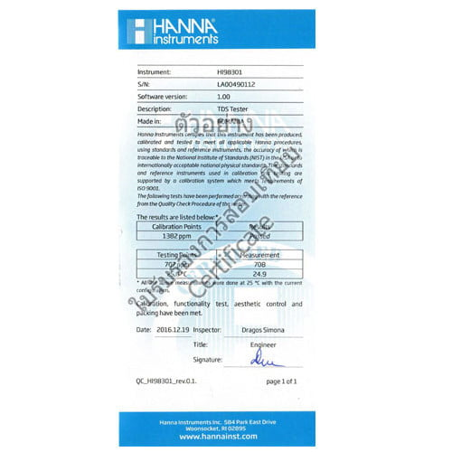 Certificate PH Meter HI98108