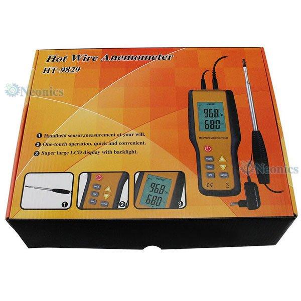 เครื่องวัดความเร็วลมแบบ Hotwire Anemometer HTI รุ่น HT-9829