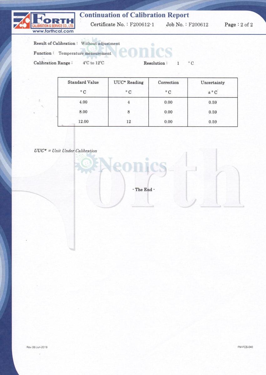 ใบรับรอง Certificate of calibration หน้า2