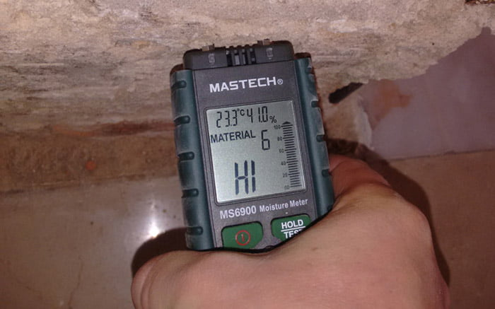 วัดความชื้นในผนังคอนกรีต